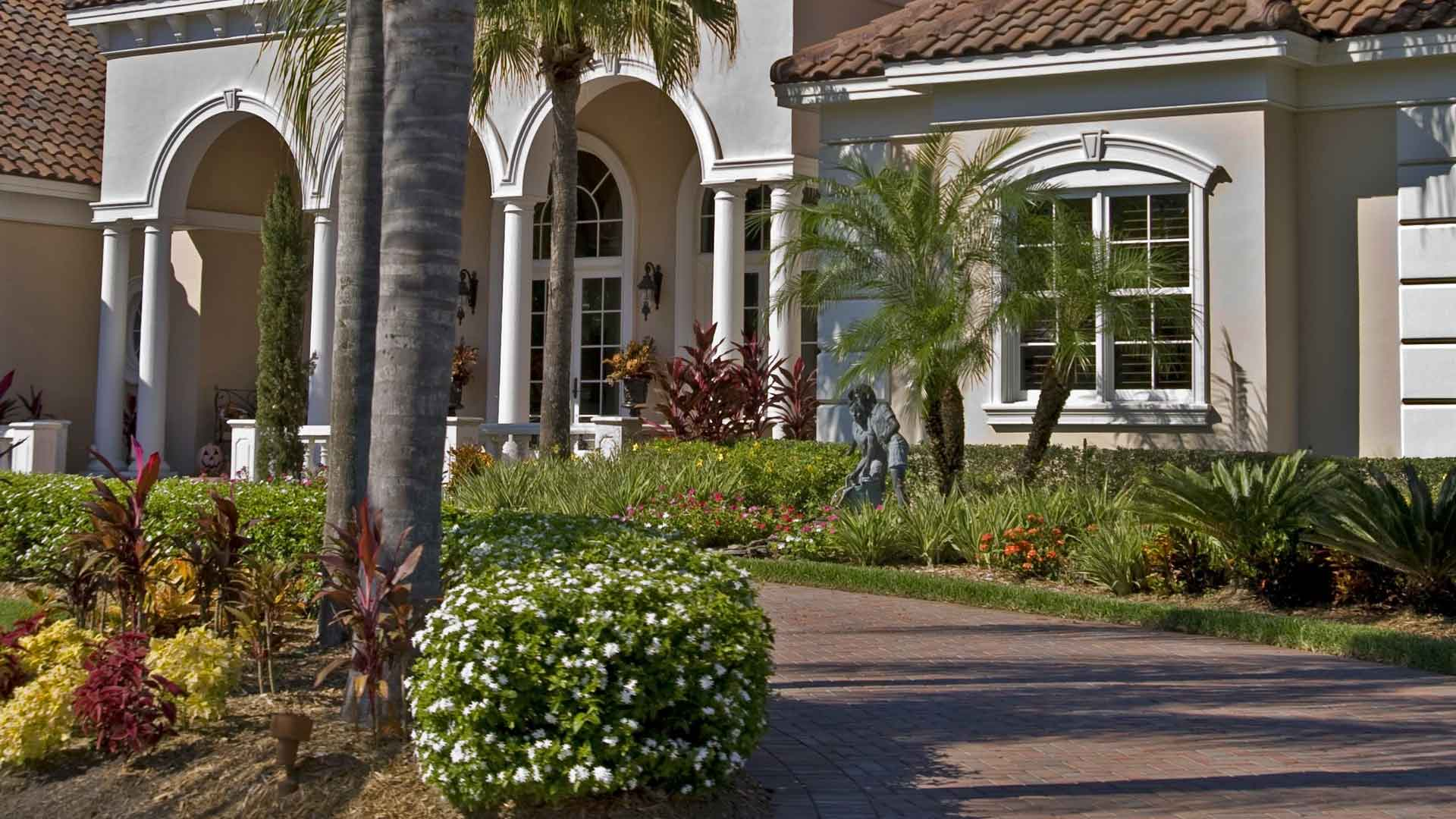 New professional landscaping at a home in Palm Beach, FL.