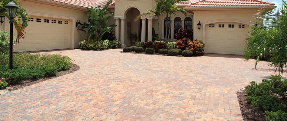 A custom decorative driveway for an estate in Jupiter, FL.