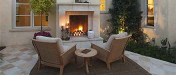 Custom outdoor fireplace in Palm Beach, FL.