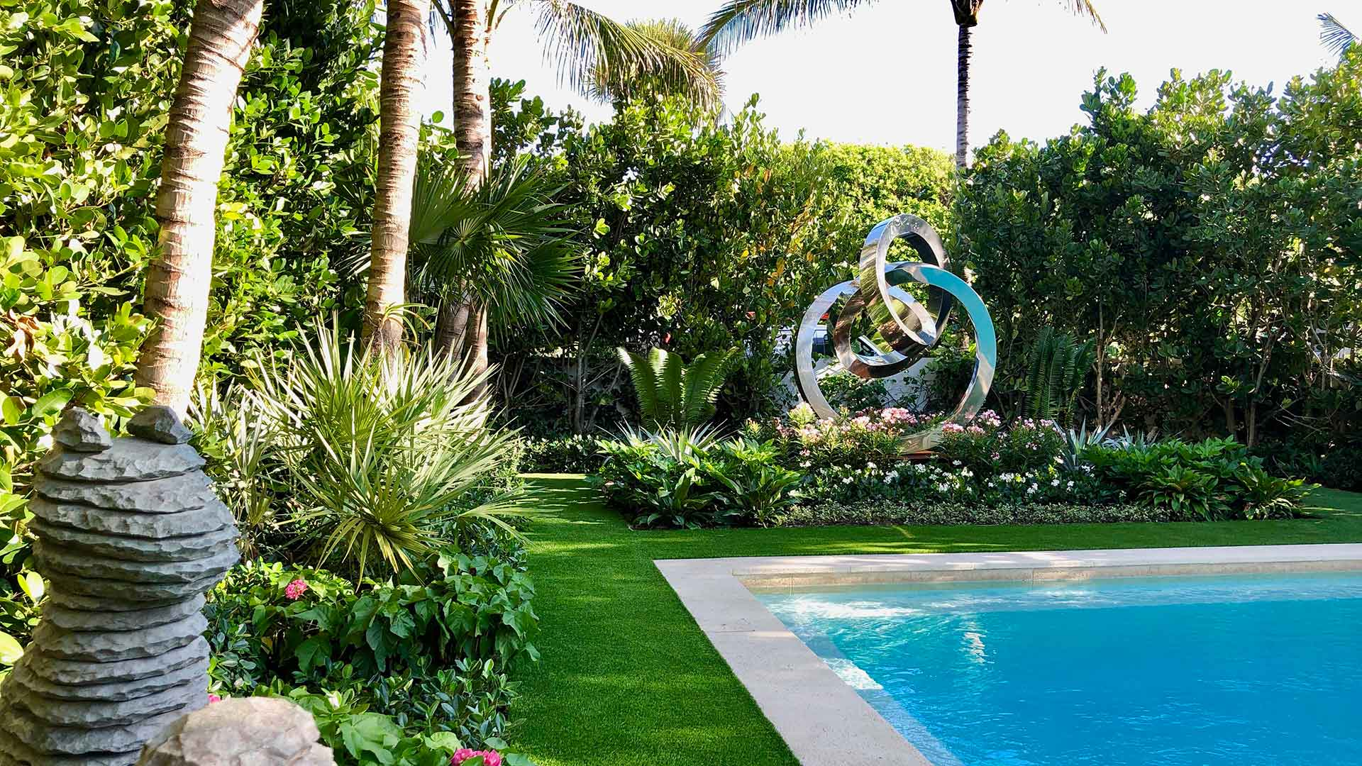 Artificial Turf & Landscaping Installed at Palm Beach Oceanfront Home