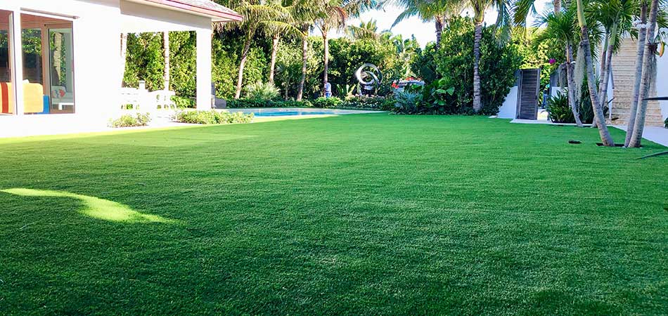 Artificial turf installed at a home in Jupiter, FL.