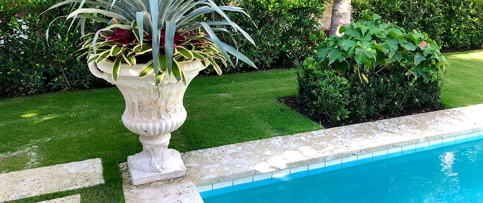 Custom landscaping installation in Palm Beach, FL.